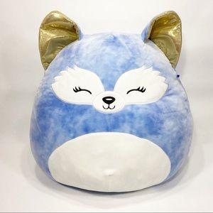 "Squishmallow 16"" Melani the Blue Fox Large Stuffed Animal Plush w Gold Ears"